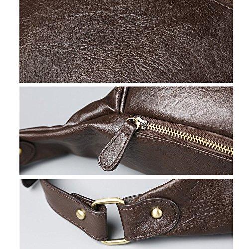 iVotre Estilo Vintage De Cuero De La Pu Suave De La Cruz Cuerpo De La Bolsa De Cintura Bolsa Nueva Marca Utilitaria Y De Moda Hombro Sling Bag Para Hombres - Negro coffee