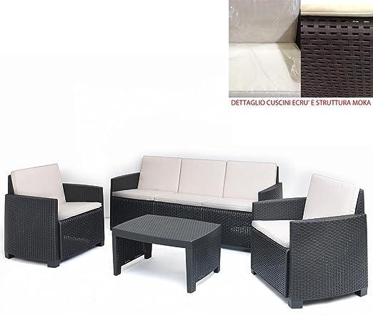 PERAGA Juego Café Moka Completo Stromboli con Cojines jardín sofá sillones Mesa: Amazon.es: Jardín