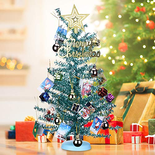 KEYNICE Tabletop Mini Christmas Tree Artificial Home Decor with 22 Pcs Christmas Decoration Ornaments Glittering Christmas Trees Set for DIY Room Party Xmas Decoration -