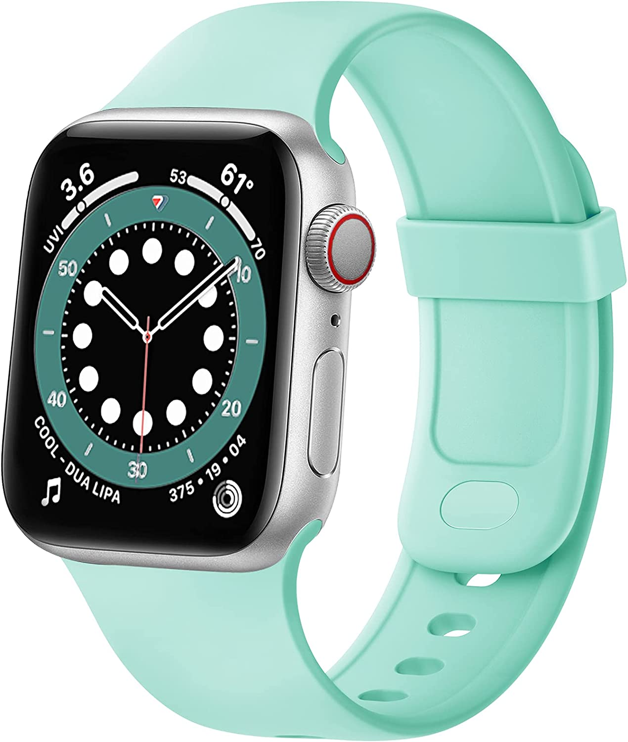 SVISVIPA Sport Bands Compatible with Apple Watch Bands 42mm 44mm, Soft Silicone Wristbands Women Men Replacement Strap for iWatch Series SE/6/5/4/3/2/1,Marine Green