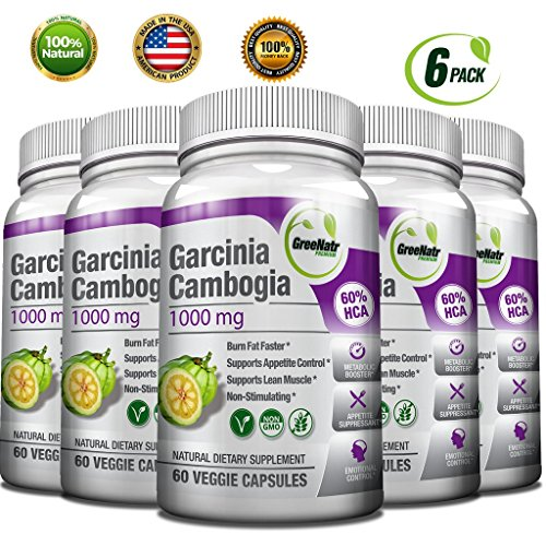 GreeNatr Garcinia Cambogia Extract 60 HCA / 1000 mg - Natural Appetite Suppressant, Fat Burner and Weight Loss Supplement, 360 Veggie Capsules / Gluten Free (6 Pack) by GreeNatr