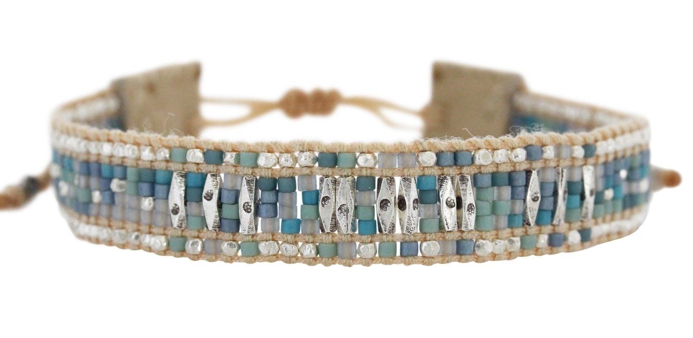 Chan Luu Blue Mix Seed Beaded Pull-Tie Beige Single Leather Cuff Bracelet BS-5290