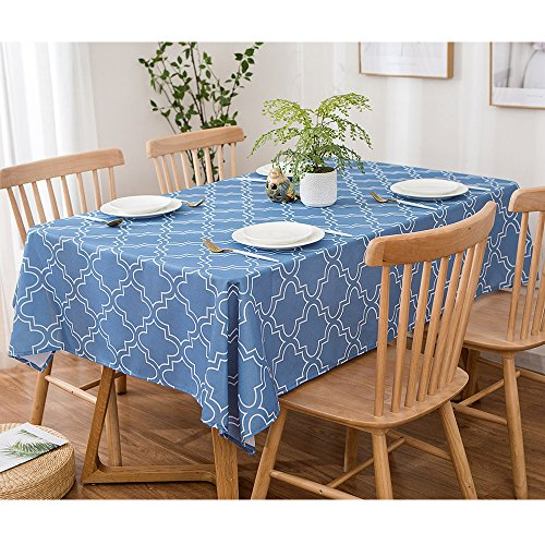 - UFRIDAY Tablecloths for Rectangle Tables 60 x 84 Inch, Fabric Blue Printed Table Clothes Spill Proof