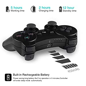 Wireless Controllers for PS3 Playstation 3 Dual Shock, Bluetooth Remote Joystick Gamepad for Six-axis with Charging Cable,Pack of 2 (Black and Blue01) (Color: Black and Blue01)
