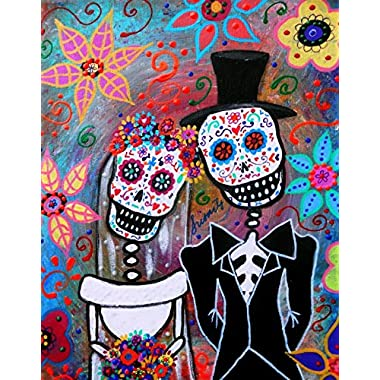 Day Of The Dead Wedding Couple Love Painting Magician Magic Wood Frame Canvas Prints 12 X 16 Inch