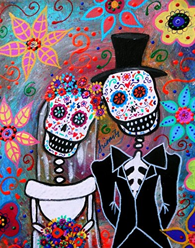 Day Of The Dead Wedding Couple Love Painting Magician Magic Wood Frame Canvas Prints 12 X