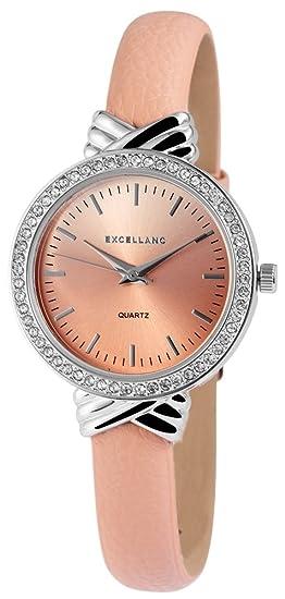 Reloj mujer Rosa Color Rosa De Oro Strass piel mujer reloj de pulsera