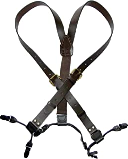 """product image for Holdup Suspender Company Brown Bonded Leather 1"""" Belt Strap Suspenders with No-slip Clips"""