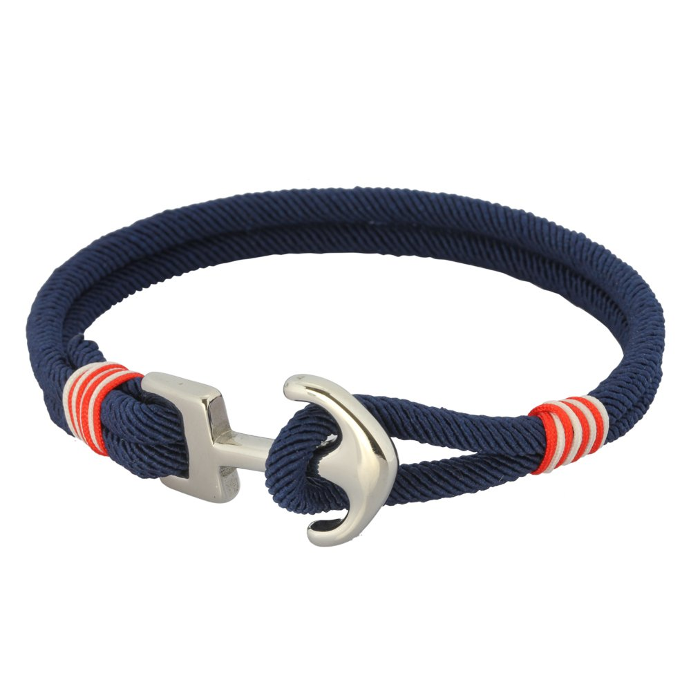 Fabric Rope Ankle Wrist Friendship Bracelet in Hypoallergenic 316L Stainless Steel 925 Sterling Silver/Red/Navy Blue/White with a Nautical Anchor - Hawaiian Jewelry for Men and Women