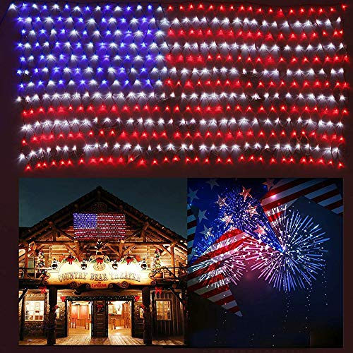 (HuiZhen Awesome American Flag String Lights,6.5ft×3.2ft Waterproof Flag Net Lights for Outdoor Christmas Decoration, Independence Day,Memorial Day, Patio Decorations Outdoor)