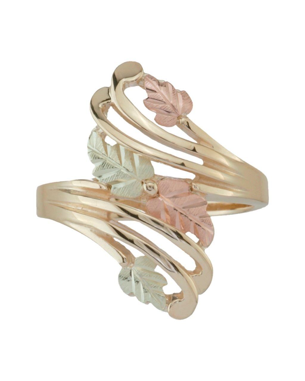 Bypass Flank Grape Leaf Ring, Sterling Silver, 12k Green and Rose Gold Black Hills Gold Motif, Size 10