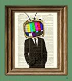 The TELEVISION HEAD TV Man in a suit illustration beautifully upcycled dictionary page book art print