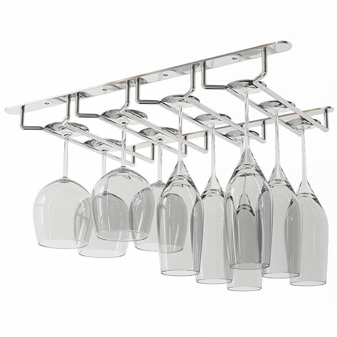 WALLNITURE Under Cabinet Stemware Glass Rack Wine Glasses Chrome Finish  product image