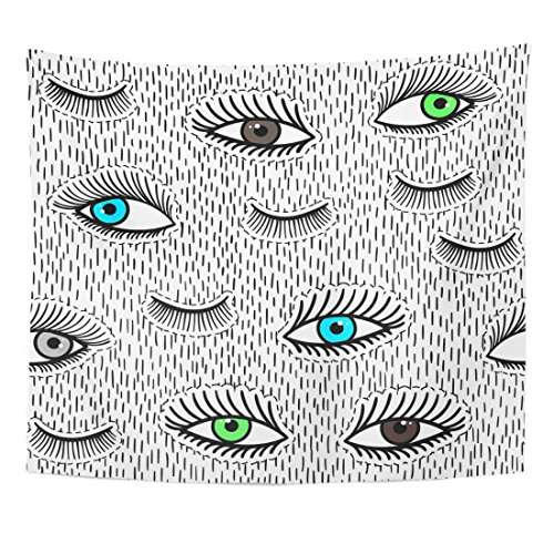 Breezat Tapestry Patches Eyes and Eyelash Beauty of Open Close Pop Sticker Patchse Pin Badge 80S 90S Style Doodle Sketch Home Decor Wall Hanging for Living Room Bedroom Dorm 50x60 (80s Makeup Style)