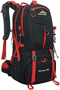Hiking Backpack Nylon Waterproof Large Capacity Daypack for Outdoor Sports Travel Fishing Cycling Skiing Climbing Camping Mountaineering 60L (Black-60L)