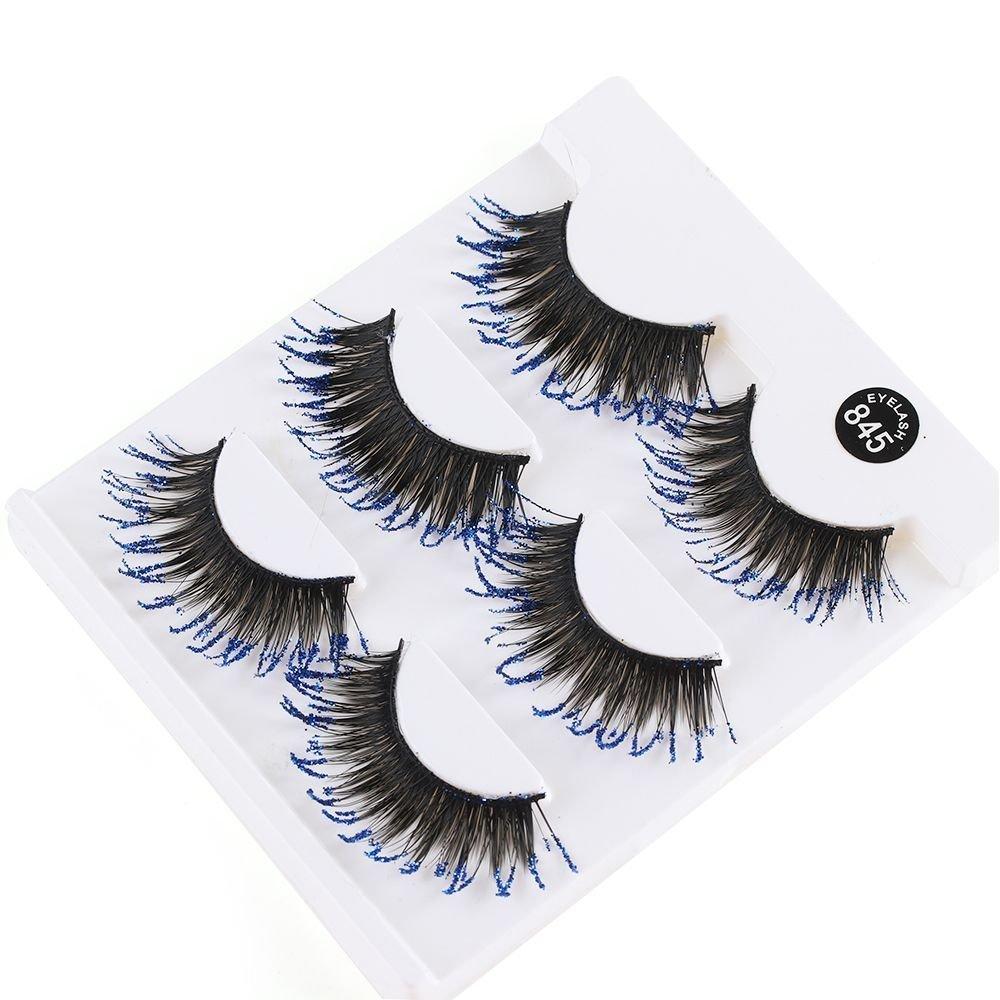 Amazon 3 Paris Blue Glitter False Eyelashes Thick Long Lashes