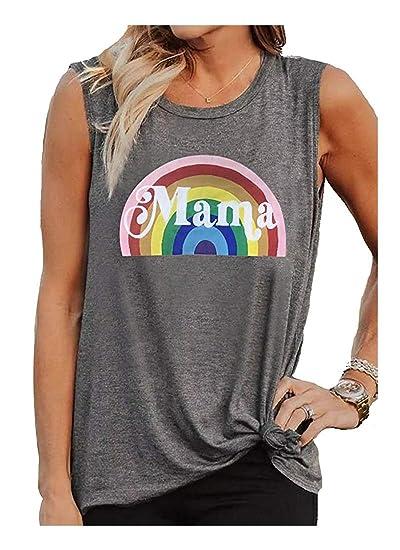 6f689b50ed25f0 Mama Tank Top Women s Vintage Sleeveless Casual Graphic Tee T-Shirt Size S ( Grey