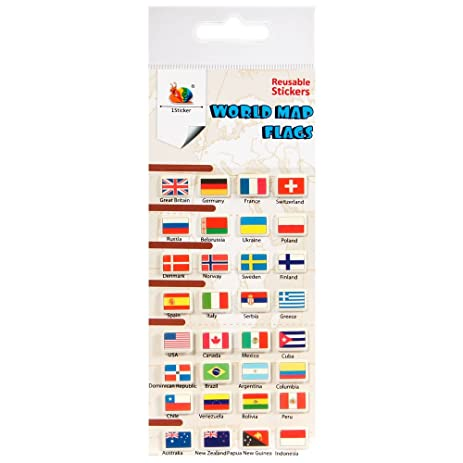 Amazon world map flags reusable puffy stickers by 1sticker world map flags reusable puffy stickers by 1sticker gumiabroncs Gallery