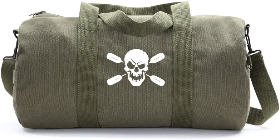 Deadly Kayaker Paddle Army Sport Heavyweight Canvas Duffel Bag in Olive /& White Medium