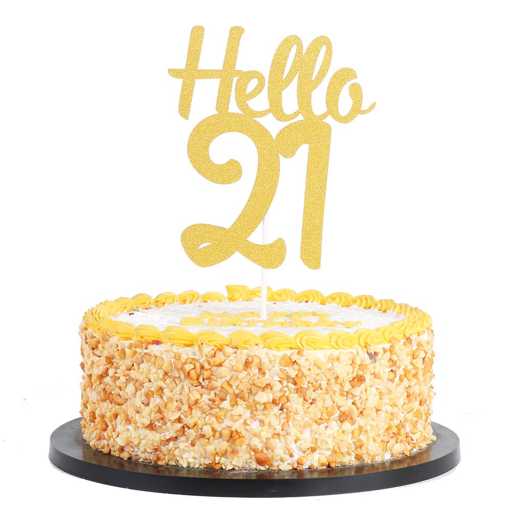 QIYNAO Gold Glitter Hello 18 Cake Topper, Cheers To 18 Years- Dirty Eighteen Cake Topper - Anniversary,Birthday Party Decoration (18th)
