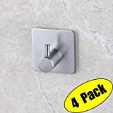 4 Piece Kitchen Faucet KES SUS 304 Stainless Steel Self Adhesive Towel Robe Hook and Self Sitck On Wall Hook Sticky Brushed Finish 4 Pieces, A7060-2-P4