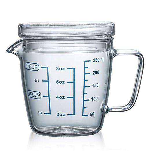TAMUME 250ml Vasos y Jarra Medidora de Vidrio Microonda Taza de Medir con Tapa (250ML)