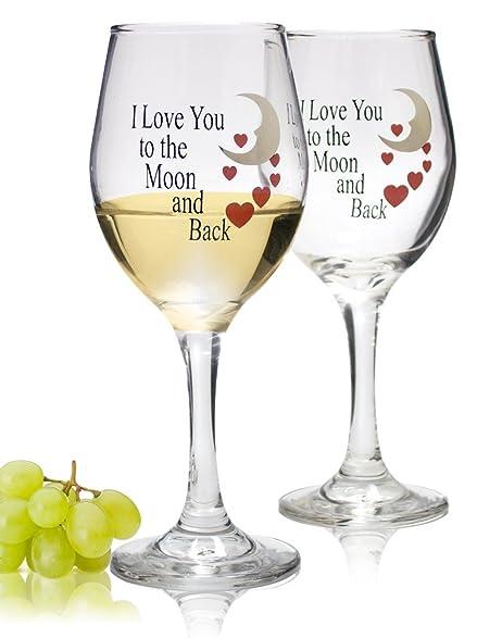 moon and back valentine wine glasses set of 2 decorative wine glasses wedding glasses - Valentine Wine Glasses