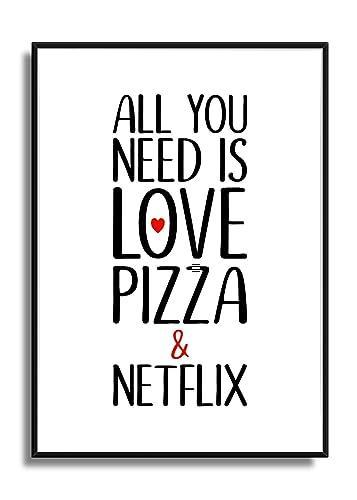 Kunstdruck Poster Bild Print Liebe Pizza Netflix Geschenk Amazon