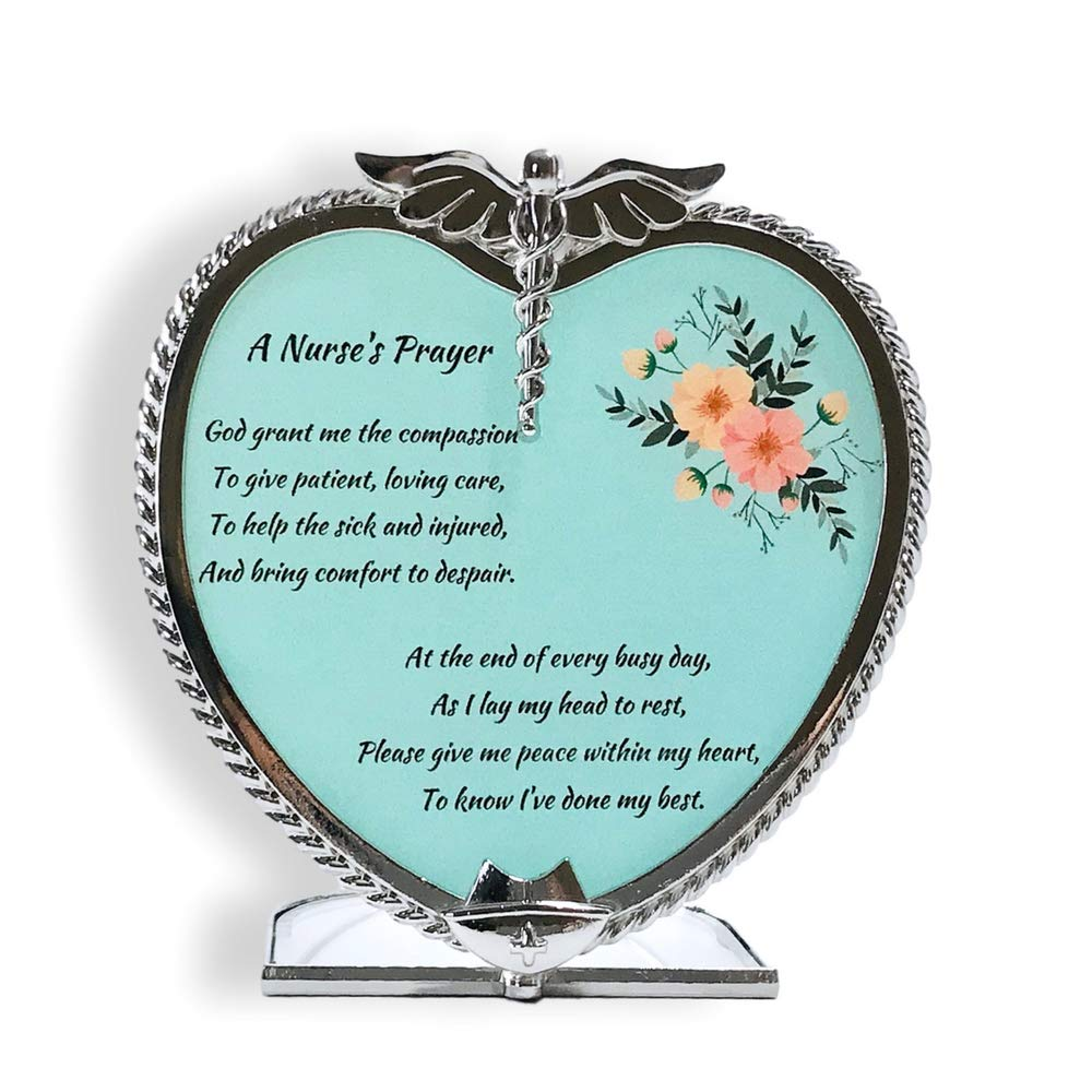 BANBERRY DESIGNS Nurse's Prayer Candle Holder Pewter Heart Shape with Touching Saying - Metal & Glass - 4 Inch 2110