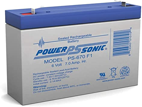 Powersonic PS-670F1-6 Volt//7 Amp Hour Sealed Lead Acid Battery with 0.187 Fast-on Connector