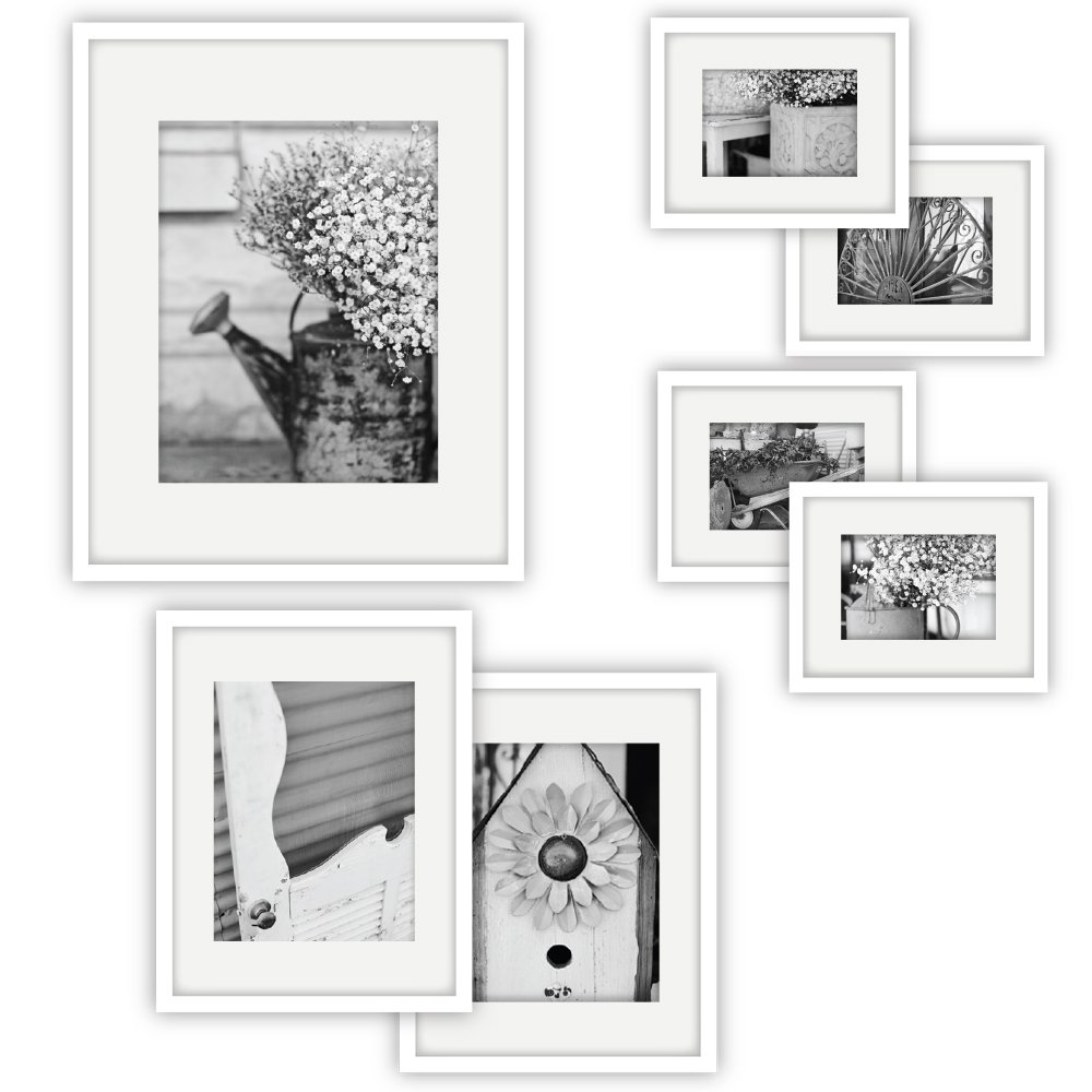 GALLERY PERFECT 7 Piece Walnut Photo Frame Wall Gallery Kit #11FW1447. Includes: Frames, Hanging Wall Template, Decorative Art Prints and Hanging Hardware NBG Home