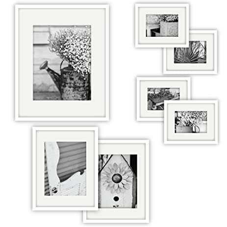gallery perfect 7 piece white photo frame wall gallery kit 11fw1444 includes frames - White Frames