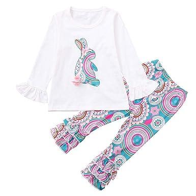 c6fca2ecf2676 HEHEM Baby Clothes Girl Boy Toddler Kids Baby Girls Long Sleeves Rabbit  Print Top+Pants