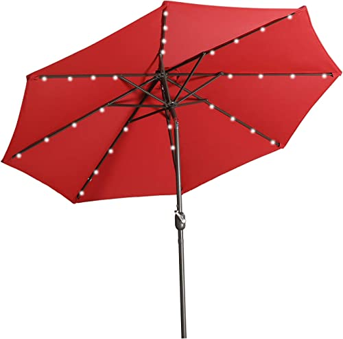 Aok Garden LED Outdoor Umbrella,9 ft Patio Umbrella LED Solar Power with Push Button Tilt and Crank Lift Ventilation,8 Sturdy Ribs Non-Fading Sunshade,Red