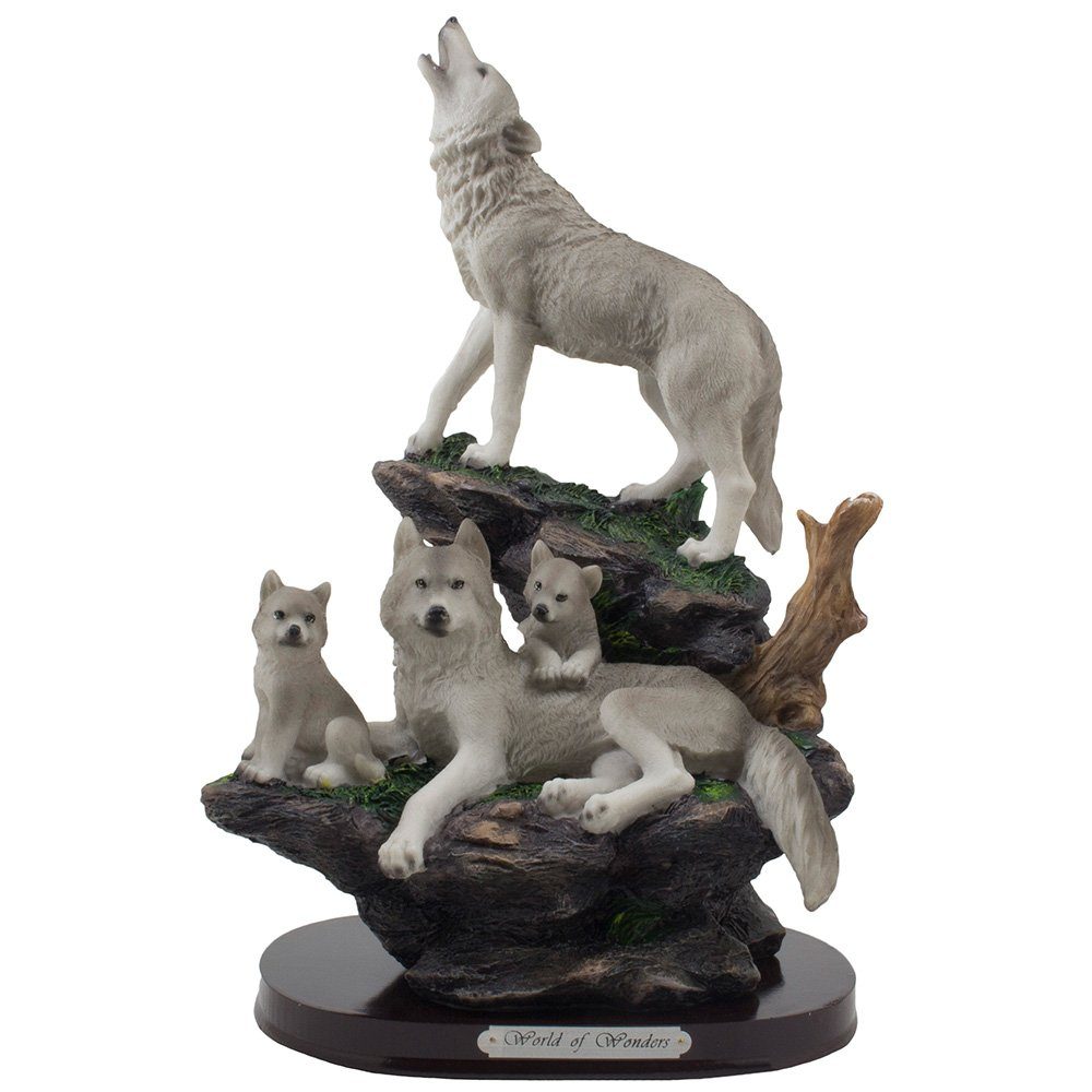 Howling Wolf and Family on a Rock Statue for Decorative Lodge and Rustic Cabin Decor Sculptures and Figurines & Wildlife Animal, Wolves or Timberwolves Collectible Art Gifts DWK Corp.