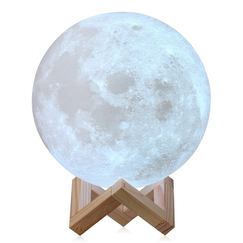 3D Moon Lamp LED Night Light with Touch Switch, Desk Lamp 2 colors with USB Charging Cable & Wooden Holder (15cm) cooresteu