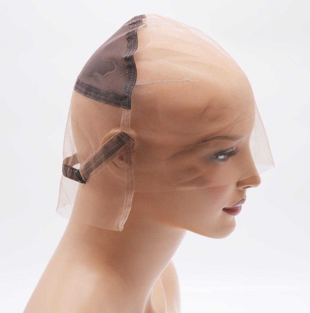 Fantasy Beauty DIY Wig Cap Glueless Full Lace Wig Cap with Ear to Ear Stretch and Adjustable Straps (Full Lace Cap, Medium Color and Size)