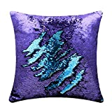#3: Magic Mermaid Pillow Cover Reversible Sequins Color Changing Pillow Case Bling Bling Sequins Cushion Cover Gift for Kids Funny Home Decoration
