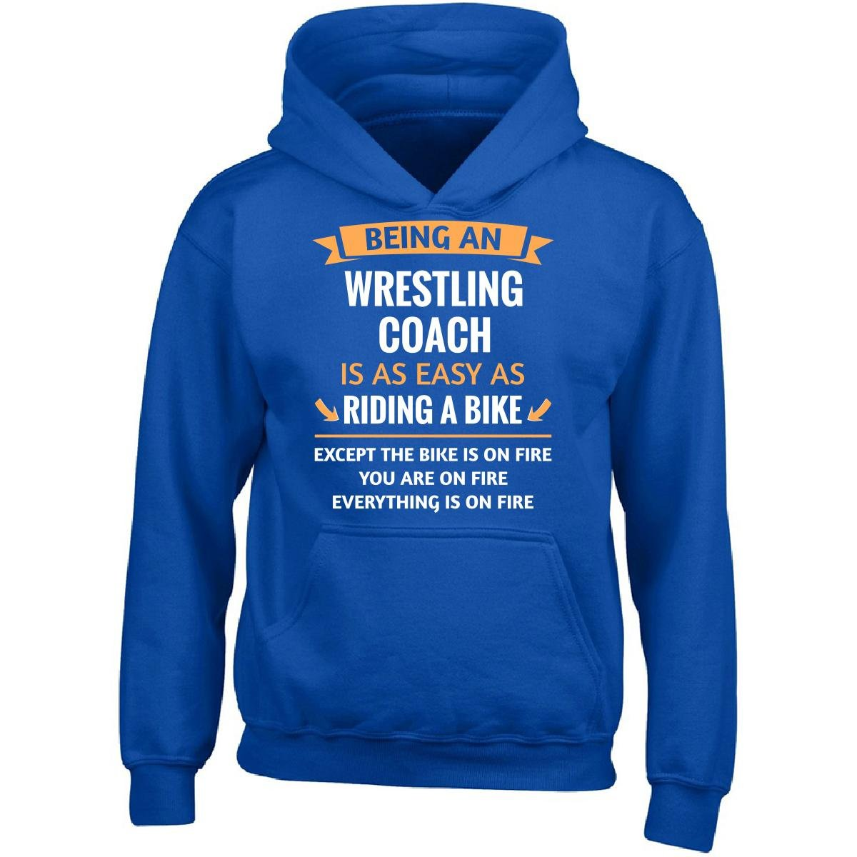 Being A Wrestling Coach Is Easy - Girl Girls Hoodie Kids S Royal by This Gift Rocks !