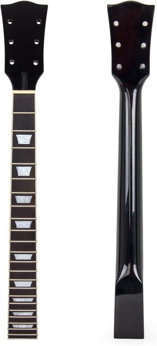 Kmise - Repuesto de cuello de guitarra eléctrica en madera de caoba y palisandro con 22trastes para guitarras Gibson Les Paul, color negro, negro