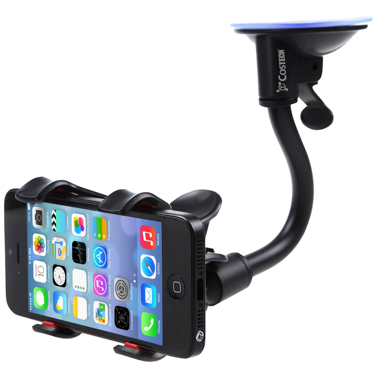 1 Pack Costech Soft Tube Universal Windshield Dashboard GPS Stand Bracket Holder Clamp for iPhone,Samsung Galaxy,Other 3.5-6.3In Smart Phone Car Mount 4476206