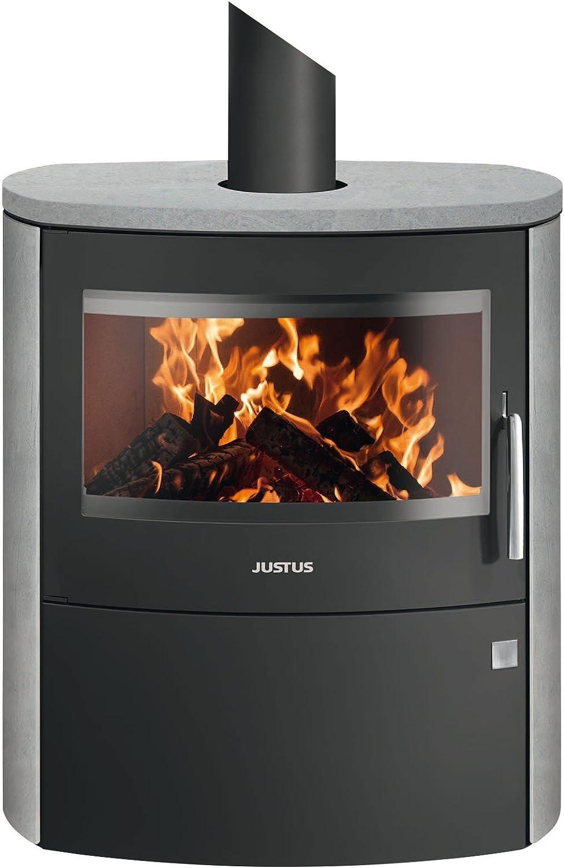 JUSTUS Austin Kaminofen 5 kW f/ür Scheitholz und Kohlebriketts Schwarz-Kalkstein