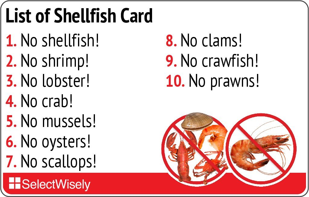 List of Shellfish Allergy Translation Card - Translated in Italian or any of 52 languages