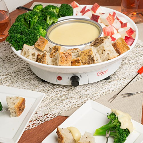 Chocolate Fondue Maker- Deluxe Electric Dessert Fountain Fondu Pot Set with 4 Forks and Party Serving Tray - A Great Valentine's Day Gift! by Good Cooking (Image #2)