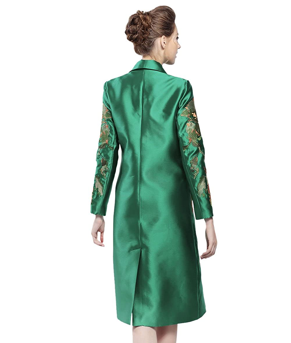 53a3a806f0856 Leggings Tortor 1Bacha Women Lady Notched Collar Embroidered Long Trench  Coat Jacket 7B73 Women