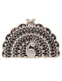Fawziya Peacock Purse Evening Bag Metalic Animal Shape Clutch Cute Clutches