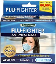 RespoKare Flu-Fighter Flu Mask - Anti-Viral Face Cover Protection - Cold, Virus, Infection, Airborne Illness & Disease Preven