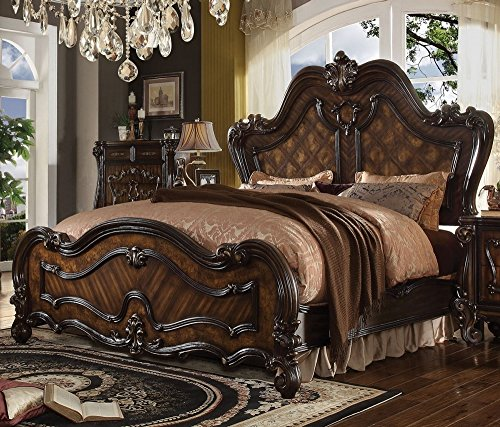 Cherry Contemporary Bed Set - Acme Furniture ACME Versailles Cherry Oak Eastern King Bed