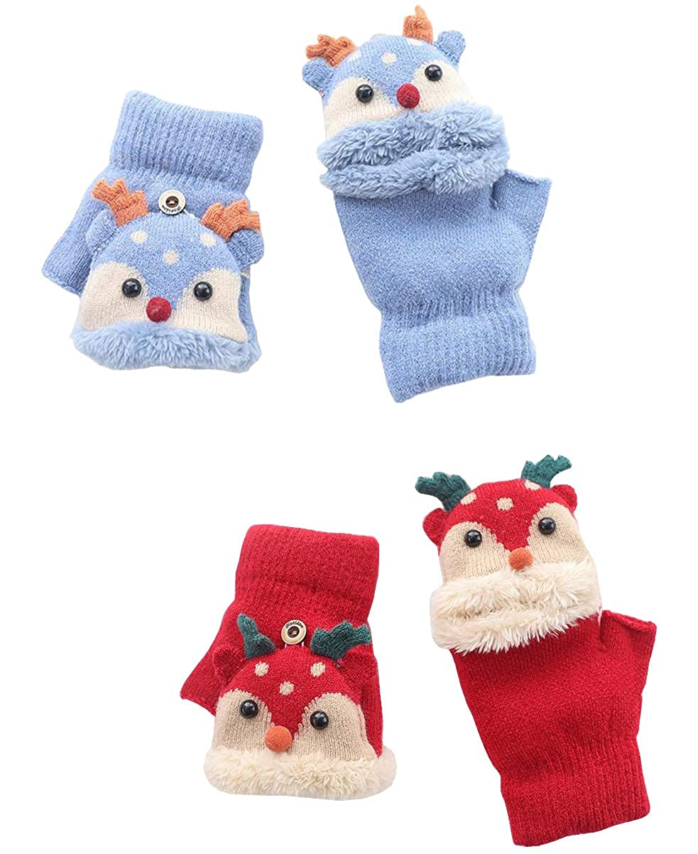 2 Pairs Toddler Boys Girls Thick Fleece Lined Fingerless Mitten Gloves with Flip Cover for Kids 3-7 Years