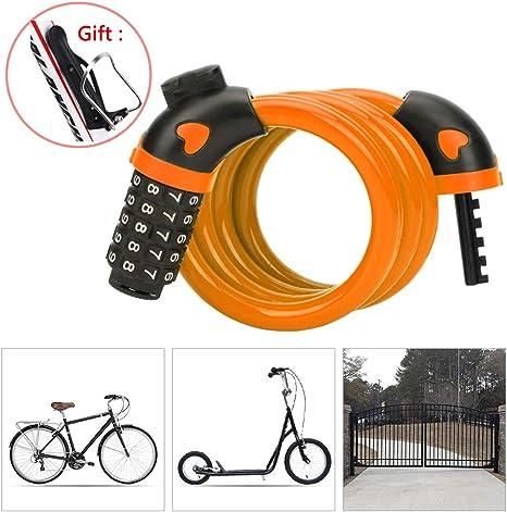 KuaiKeSport Candado Bicicleta Combinacion con Código de 5 Dígitos ...
